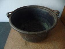 Alter großer Kupferkessel mit Eisenbügel 22 cm hoch