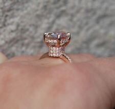 3Ct Oval Cut Morganite Solitaire Engagement Ring Solid 14K Rose Gold Finish