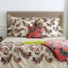Yves Delorme Parure 4PC Ivory King Sheet Set Paisley Feathers Cotton $995 NEW