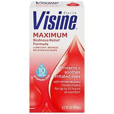 3 Pack Visine Maximum Redness Relief Formula Sterile Eye Drops 0.5 Oz Each