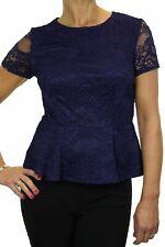 Ladies Elegant Short Sleeve Slim Stretch Crochet Lace Peplum Top Navy Blue 8-14