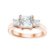 0.70Ct 3 Stone Square Princess Brilliant Moissanite 14K Solid Rg Engagement Ring