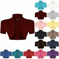 Plus Size Ladies Womens Open Cardigan Short Shrug Crop Short Sleeve Bolero Tops
