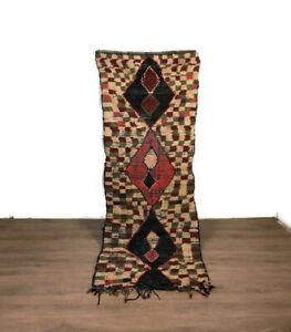 Vintage Hallway Rug Berber Runner Cotton Moroccan Area Handmade Kilim 8'X3' Feet