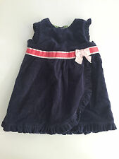 Janie and Jack VELVET RUFFLES Coral Pink RIBBONS Navy Blue 3-6 months Baby Girl