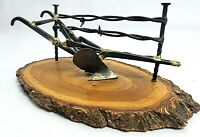 Rustic plow Cultivator decor handmade wood metal & barbed wire Ranch agriculture