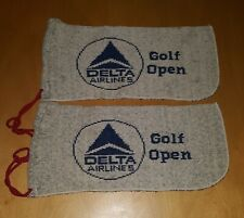 Delta Airlines Golf Open Club Covers Vintage set of two knit bags collectable