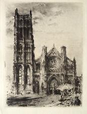 Dominique JOUVET gravure eau forte etching L'église de Dieppe Normandie 1900