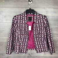 The Limited Women's Small Blazer Jacket Printed Paisley Purple Open Front NEW