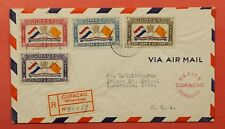 1941 CURACAO WILLEMSTAD REGISTERED AIRMAIL TO USA WWII CENSORED