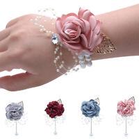 Wedding Corsage Bride Groom Lapel Pin Prom Bouquet Wrist Flowers Party Decor