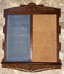 """VTG MCM Hanging Message Board Bulletin Board Cork & Chalkboard Wood Frame 20.5"""""""