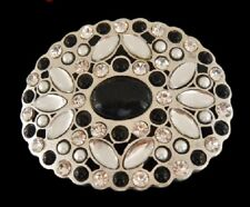 Belt Buckle Boucle De Ceintures Beautiful White Rhinestone Flower Black Stone