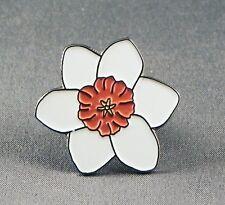 Metal Enamel Pin Badge Brooch Daffodil Daffoddil Flower Daf Emblem White