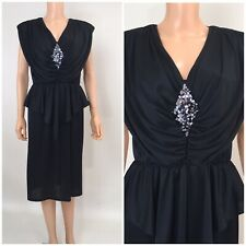 Vintage 80s 90s  Black Dress Disco Salsa Party LBD Draped Dress Dynasty Midi M