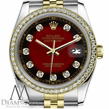 Unisex Rolex 36mm Datejust 2 Tone Red Vignette Color Dial with Diamond Accent