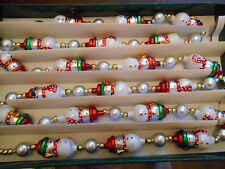 VINTAGE 6FT SNOWMEN CHRISTMAS TREE GLASS GARLAND BOXED RED SILVER GREEN FIGURES