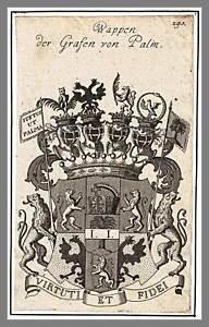 PALM - Wappen der Grafen Original-Kupferstich um 1660