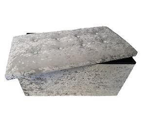 Double Crushed Velvet Diamante Ottoman Folding Storage Box Footstool Seat Silver