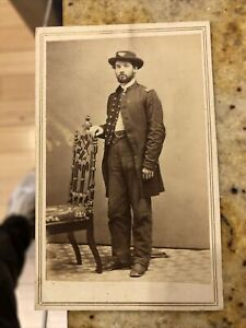 Rare 1860's Civil War CDV Photo Of Union Officer W/ Hat