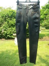 "Cool Leather Look Coated Biker Gothic/Grunge Skinny Trousers Size 6/Leg 30""."