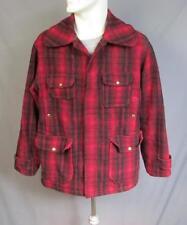 VINTAGE 1950s WOOLRICH Lana Buffalo Plaid Cazadora Abrigo sz.40 rojo y negro