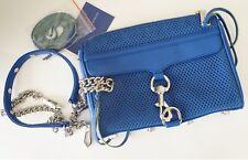 New Rebecca Minkoff Mini Mac Crossbody Blue Bag Clutch Shoulder Leather