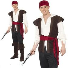 Mens Pirate Costume Adult Caribbean Captain Fancy Dress Jack High Seas Outfit