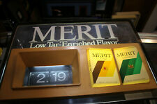 """Merit Cigarettes Lighted Display Sign 20"""" X 15"""" Flip Clock does not work Jsh"""