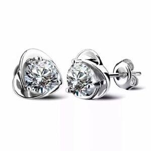 925 sterling silver white heart stud earrings women's jewellery gifts
