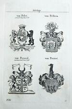 1837 4 Wappen von Pelet Pelken Perard Perrot Kupferstich Tyroff