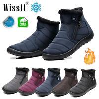 Men Women Flat Ankle Snow Boots Winter Warm Fur Lining Slip On Shoes Waterproof