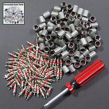 NEW 100 VALVE STEM CORES CAPS 1 TOOL TIRE SENSOR TPMS Universal bulk lot VP-02