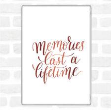 Rose Gold Memories Last Lifetime Quote Jumbo Fridge Magnet