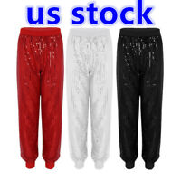 US Women Glitter Sequins Baggy Harem Pant Bloomers Dance Hippie Palazzo Trousers