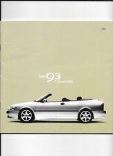 SAAB 93 CONVERTIBLE CAR SALES BROCHURE 2001