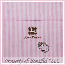 BonEful Fabric FQ Cotton Quilt Pink Brown John Deere Ticking Small Stripe Retro