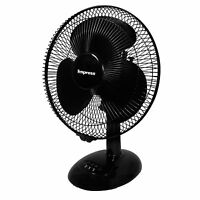 "IMPRESS 12"" BLACK 3 SPEED OSCILLATING WHISPER QUIET TABLE DESK FAN TILT HEAD NEW"