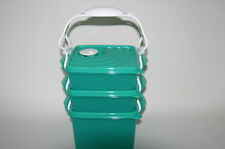 TUPPERWARE Crystalwave Microwave Square Goody Bento Lunch Set Carrying Handle