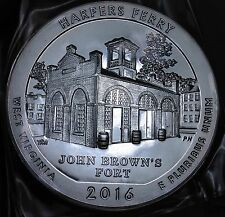 """2016 5 OUNCE SILVER BULLION """"AMERICA THE BEAUTIFUL""""  HARPER'S FERRY *ONE COIN*"""