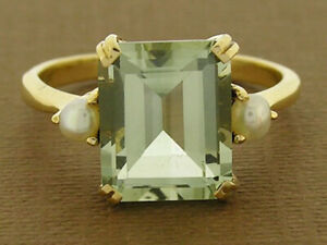 R241 Genuine 9K Solid Gold Natural Green Amethyst & Pearl Solitaire Ring your sz