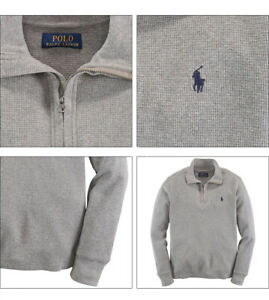 Ralph Lauren Boy's Waffle Knit Half Zip Pullover Sweatshirt Heather Grey