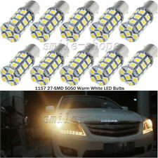 10pcs Warm White 12V 1157 27-SMD Tail Stop Brake Redverse Backup Lights LED Bulb