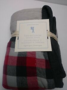 Pottery Barn Kids Plaid Patchwork plush Euro Quilted Sham red gray black 26x26