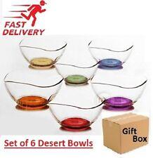 6x Set Crystal Dessert Starter Bowls Glass Ice Cream Sundae Trifle Multicolored