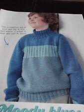 Moody Blues knitting pattern for Boys & Girls Sweater by Rowan