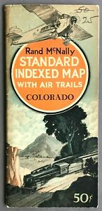 [Colorado]   Standard Indexed Map with Air Trails   Rand McNally  1929
