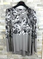 Phase Eight Ladies Size 10 Floral Grey Long Sleeve Top