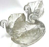 Vtg Set Of 3 Regoline Swan Small Vase Dish Wedding Ice Sculpture Lucite Deco