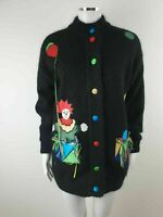 Hammells Vintage Clown Black Mohair Fully Lined Casual Cardigan Coat Size S 8 10